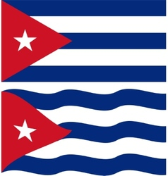 Flat and waving cuban flag vector