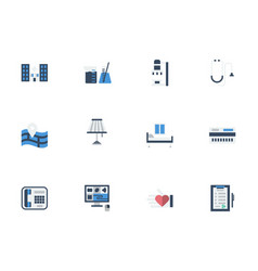 flat icons set for private clinic vector image