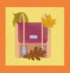 Flat shading style icon school bag leaves vector