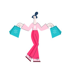 flat woman with present gift boxes vector image