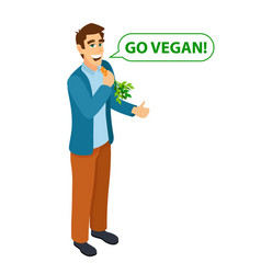 Go vegan modern lifestyle isometric young vector