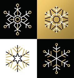 Gold outline line snowflake set icon christmas vector