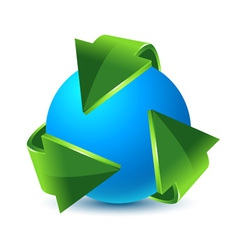 Green recycling arrows and blue earth vector