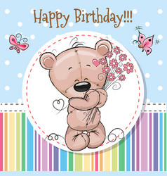 Greeting card cute teddy bear vector