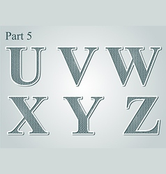 Guilloche letters UVWXYZ vector