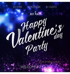Happy valentines day lettering party flyer vector