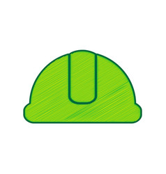 Hardhat sign lemon scribble icon on white vector