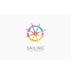 Helm logo Sailing logo design Color logo design vector image