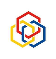 hexagon chain geometry connect logo vector image