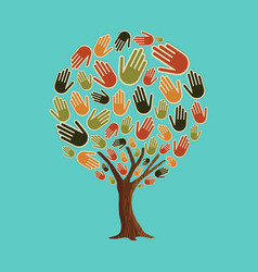 Human hand tree concept for community help vector