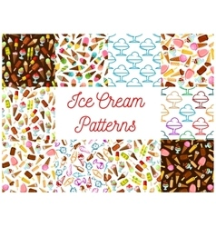 Ice cream seamless patterns vector