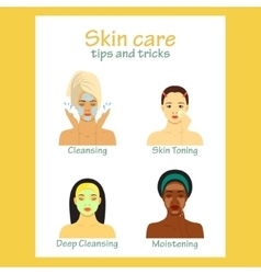 Icon set for skincare infographic Young women vector