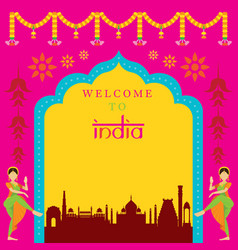 India travel attraction frame vector
