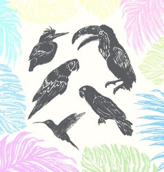 Ink hand drawn birds vector image