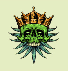 king gold crown skull marijuana leaves vector image