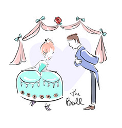 man and woman at the ball dressed up doing vector image