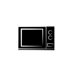 microwave oven icon black on white background vector image