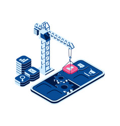 Mobile app creation concept isometric icons vector