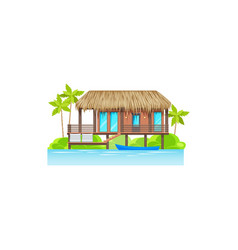 modern house on water sea ocean cost isolated icon vector image