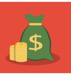 Money bag and coins icon vector image