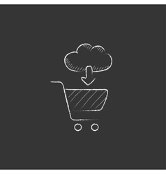 Online shopping Drawn in chalk icon vector