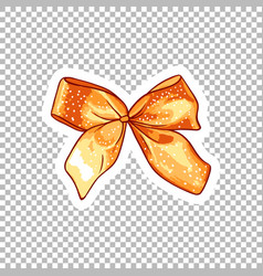 Orange bow hand drawn on transparent vector