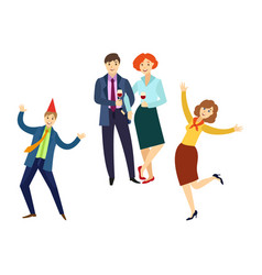 People having fun at corporate party in office vector