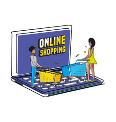 people with shopping online pop art style vector image