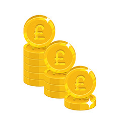 Piles gold pounds isolated cartoon icon vector