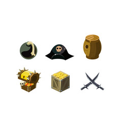 Pirate game elements set bomb hat chest of gold vector