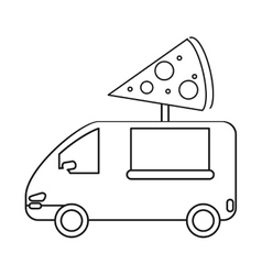 pizza delivery truck fast food outline vector image