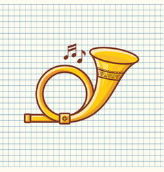 Post horn musical instrument baby toy vector