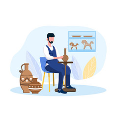 Professional male potter master is sitting vector