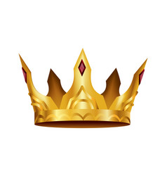 realistic golden crown crowning headdress for vector image