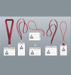 Realistic lanyard badge employee identification vector