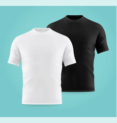 Realistic or 3d white and black t-shirts for man vector