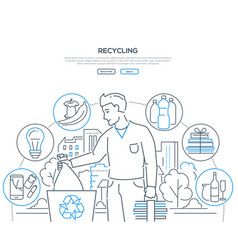 recycling - modern line design style web banner vector image