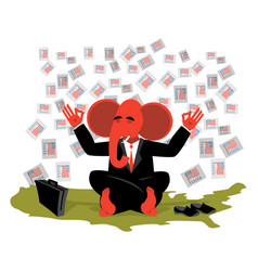 Red elephant republican meditates votes in usa vector