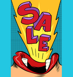 sale pop art style female mouth vector image