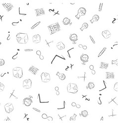 Seamless pattern with cute hand drawn educational vector