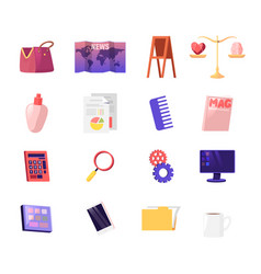 set bag map and easel scales with heart vector image