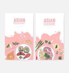set colorful flyer templates with sushi and vector image