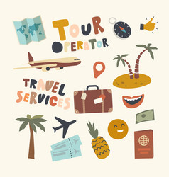 set icons tour operator theme luggage vector image
