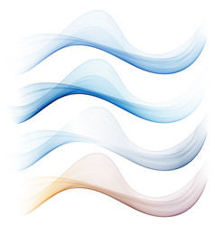 set of abstract blue waves vector image vector image