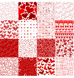 set of patterns for valentines day vector image