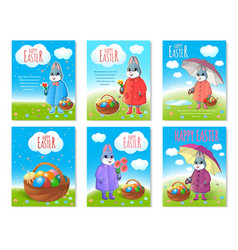 set of posters for easter vector image