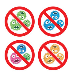 set stop bacteria icons vector image