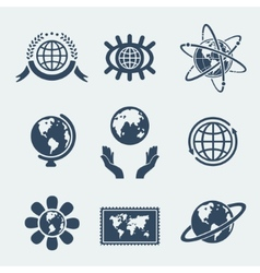 set symbols planet earth vector image