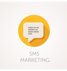 SMS marketing Icon Flat design style with long vector