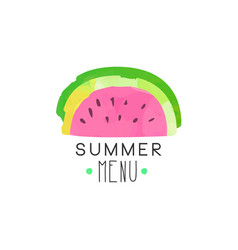 Summer menu logo label with watermelon for vector